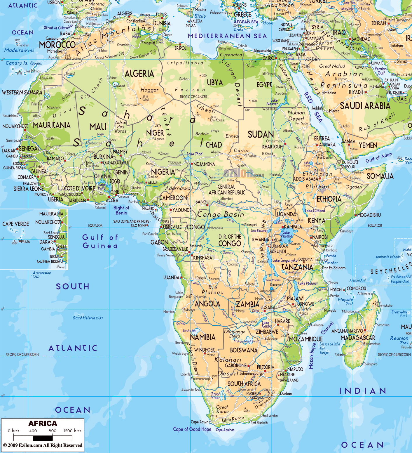 africa map with roads