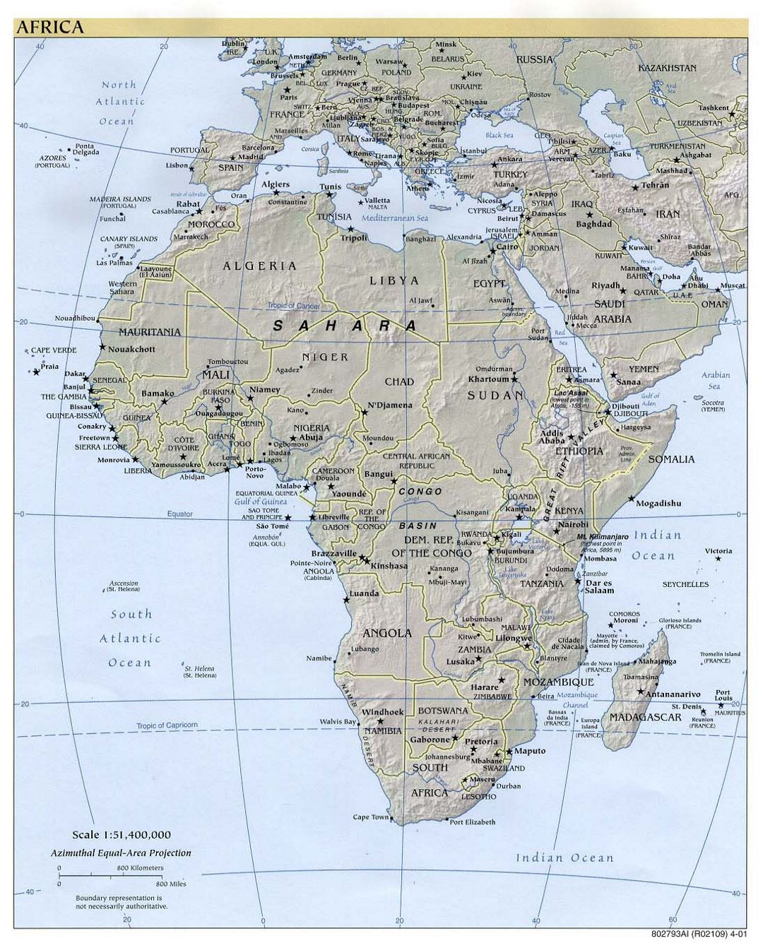 Large political map of Africa with relief and capitals - 2001