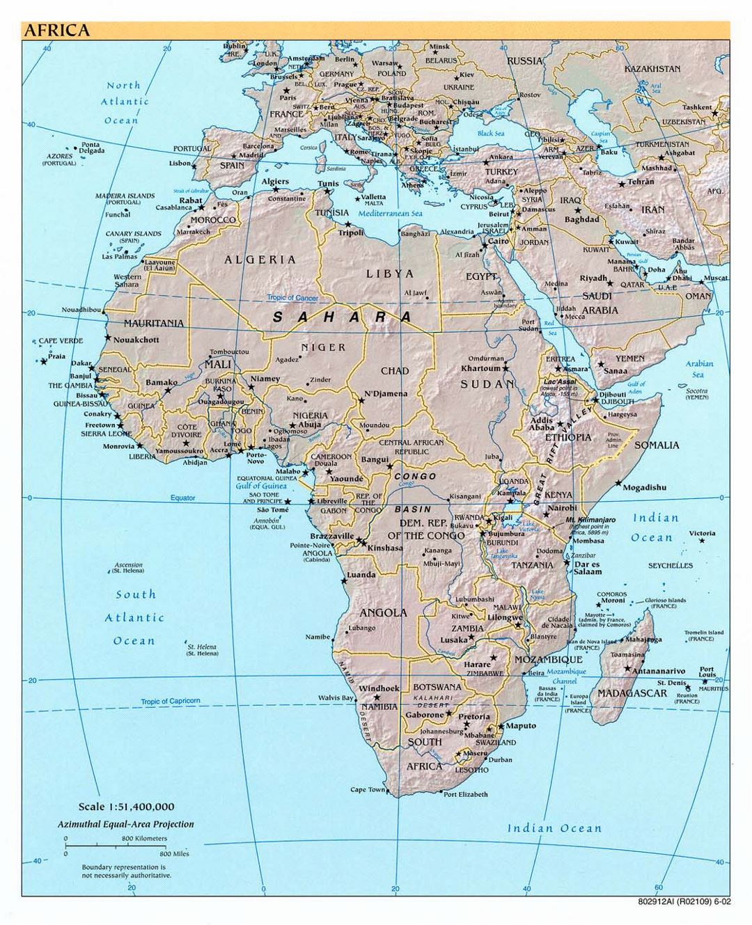 Large political map of Africa with relief and capitals - 2002