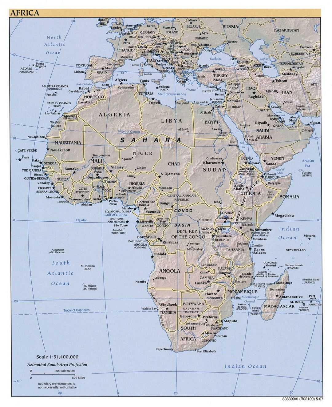 Large political map of Africa with relief, major cities and capitals - 2007