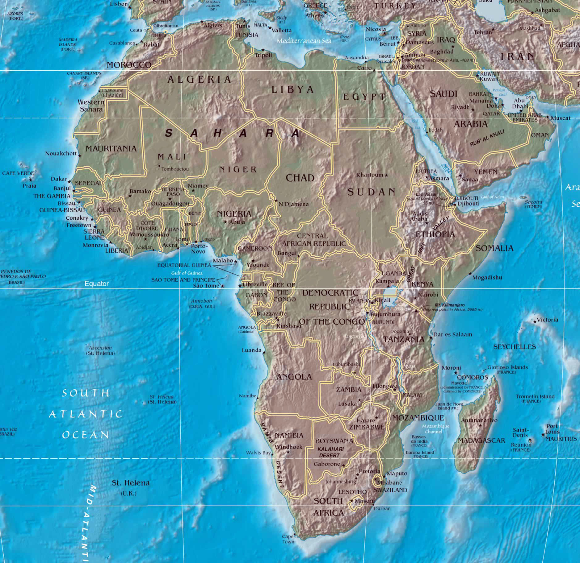 Large political map of Africa with relief Africa Mapsland Maps