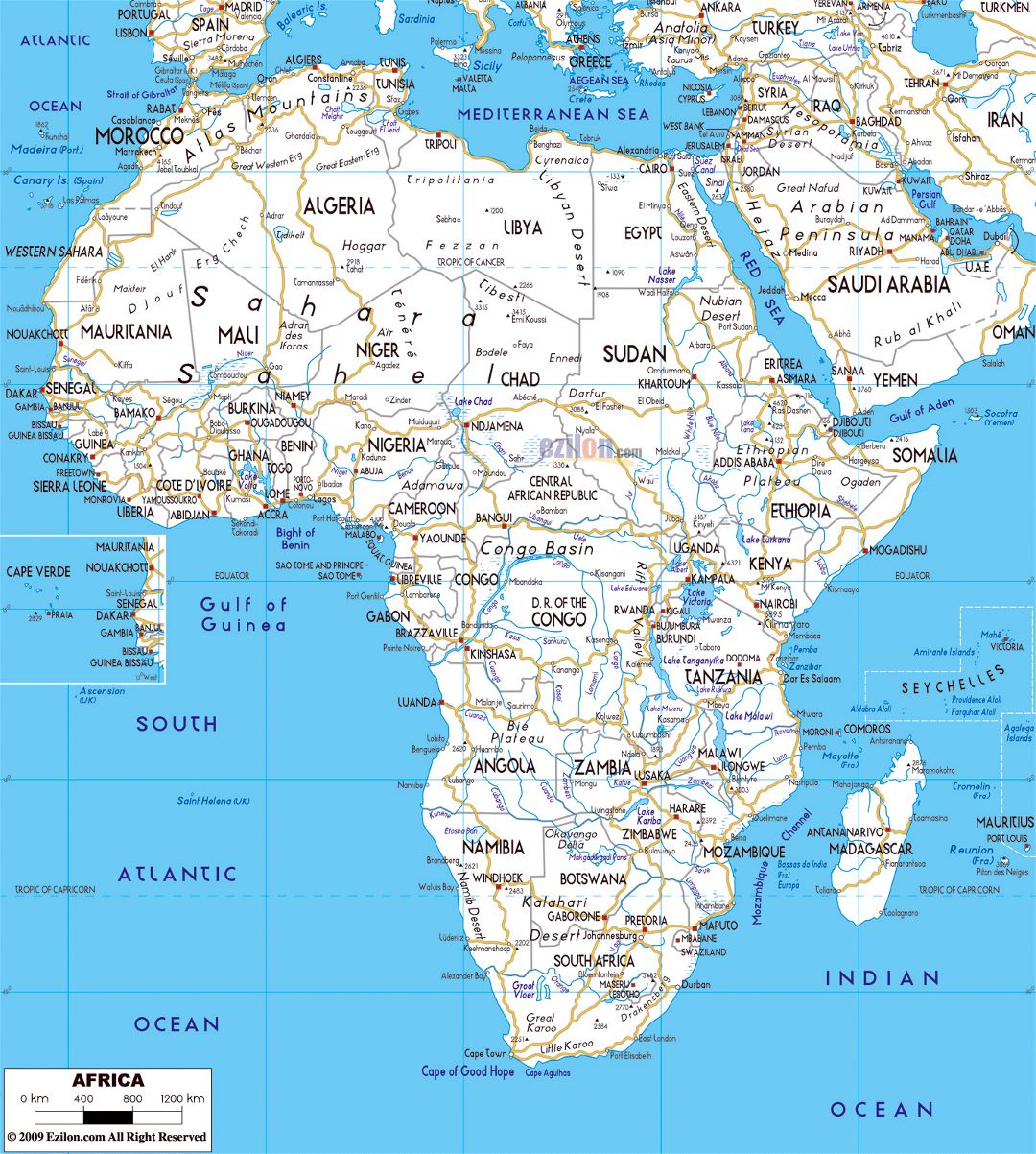 Large road map of Africa with major capitals and major cities
