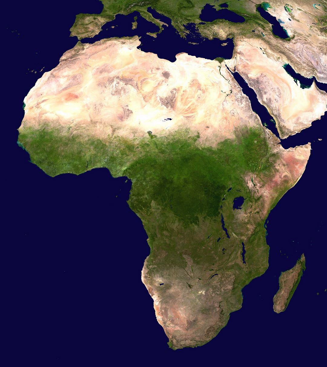 Large satellite map of Africa