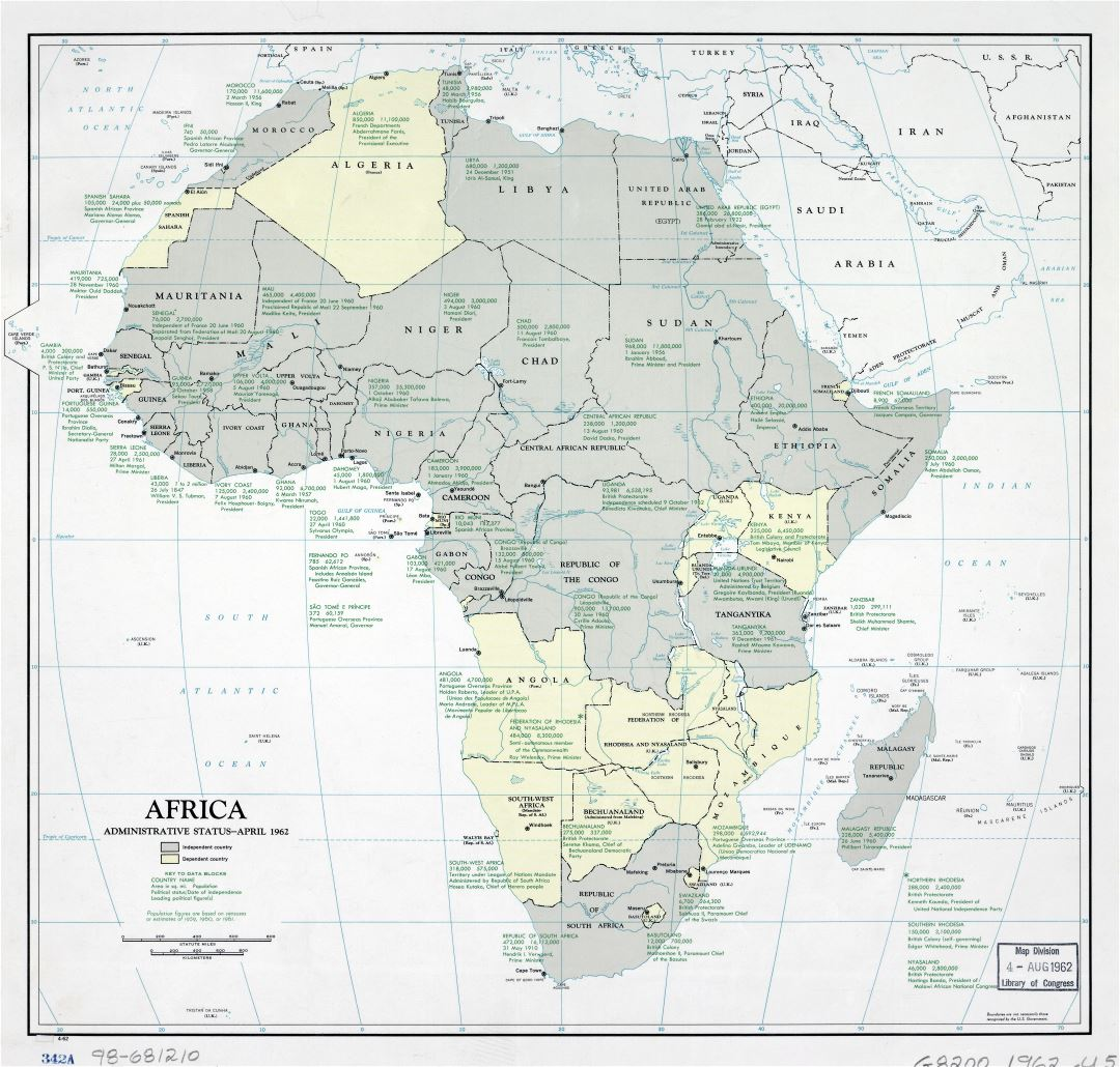 Large scale Africa administrative status map - 1962