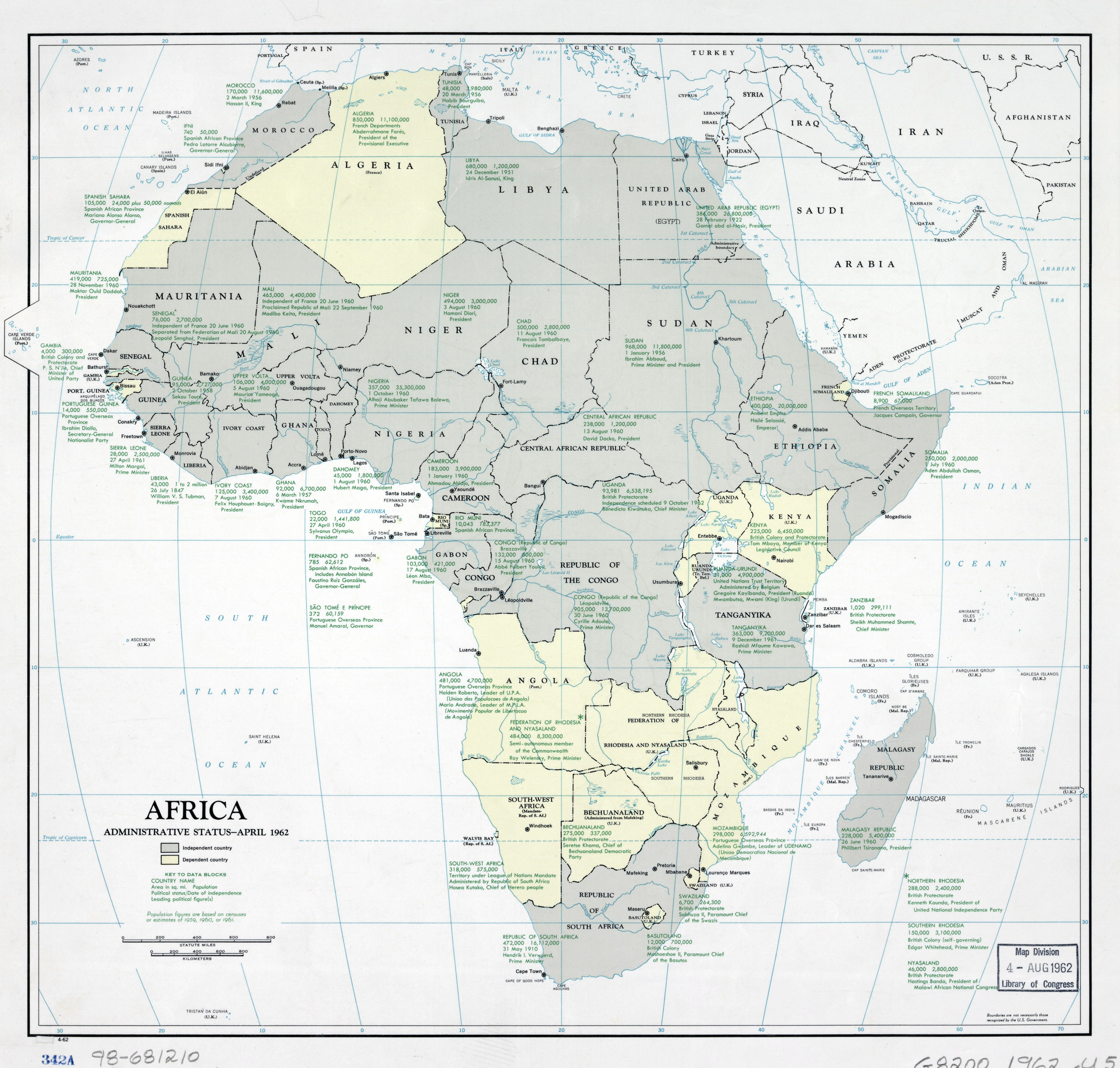 Large scale Africa administrative status map   1962 | Africa