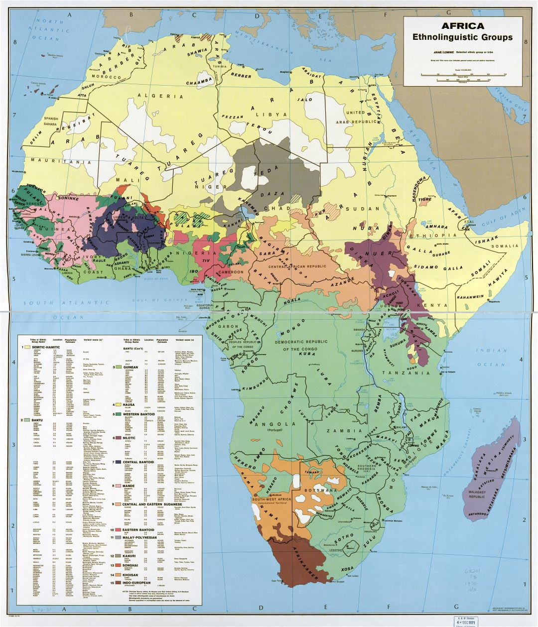 Large scale detail Africa - Ethnolinguistic groups map - 1970