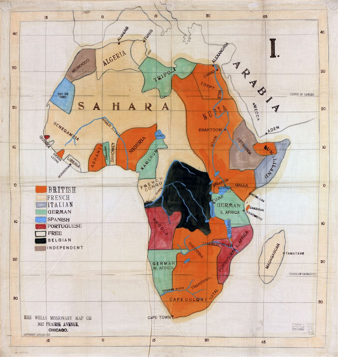 Large scale detail old political map of Africa - 1908