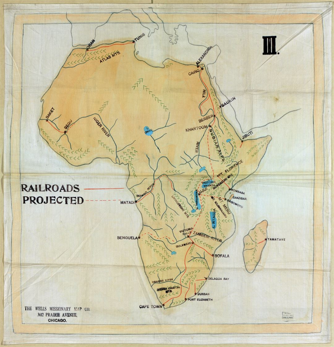 Large scale detail old railroad map of Africa - 1908