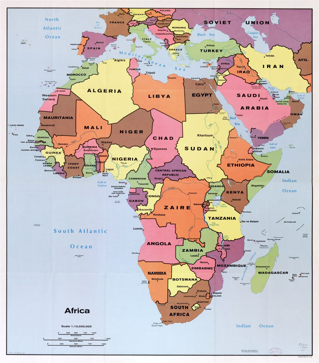 Large scale detail political map of Africa with the marks of