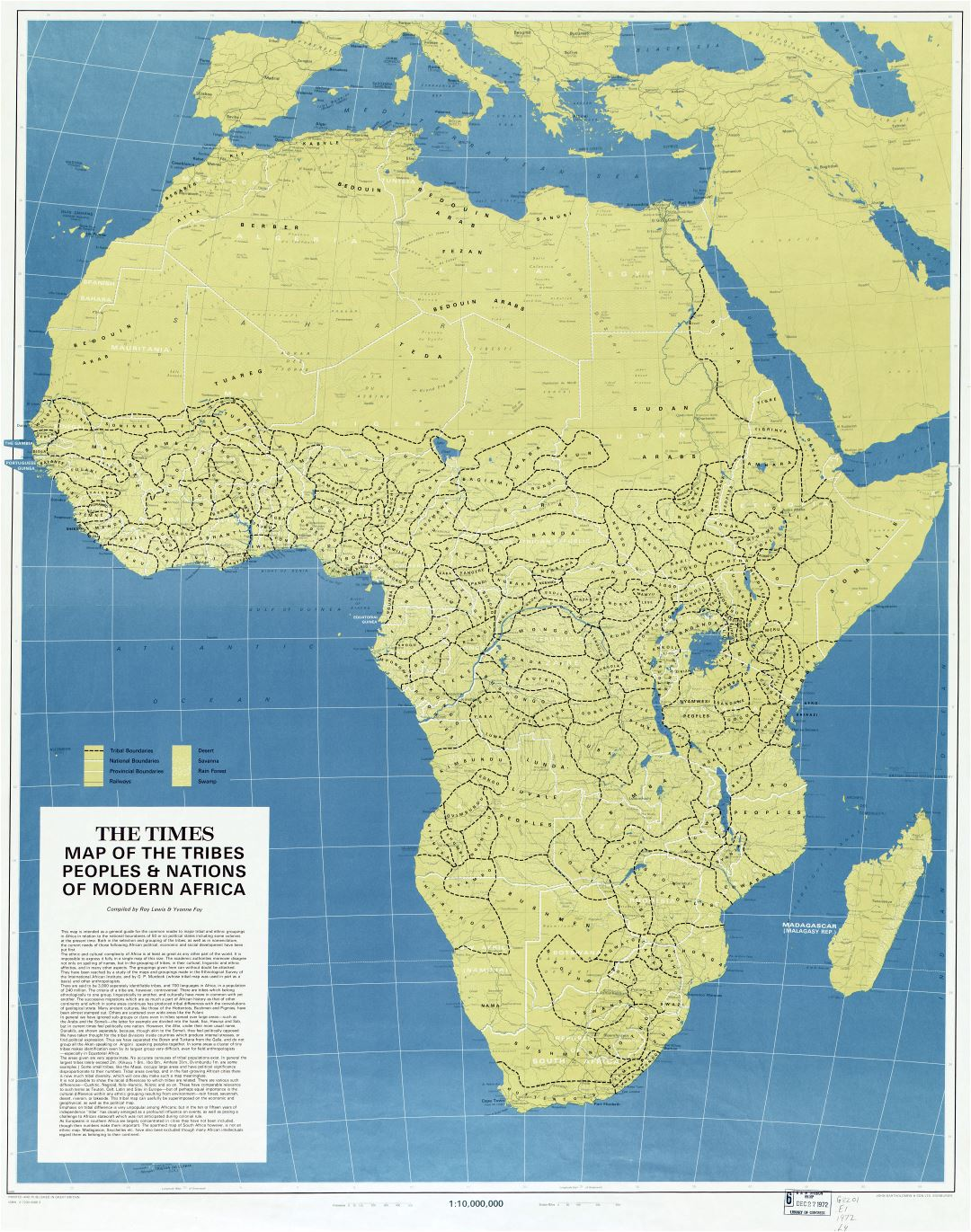 Large scale detailed map of the tribes, peoples, & nations of modern Africa - 1972