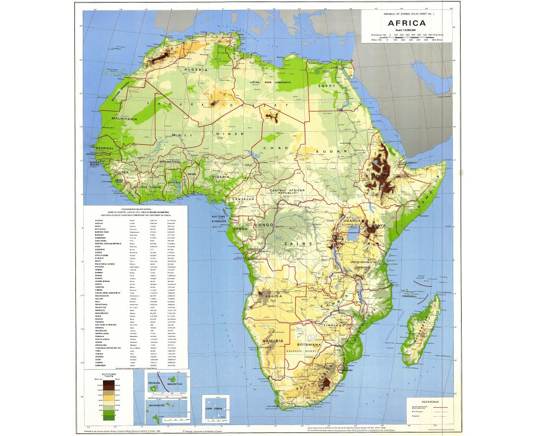 Large scale detailed physical and political map of Africa