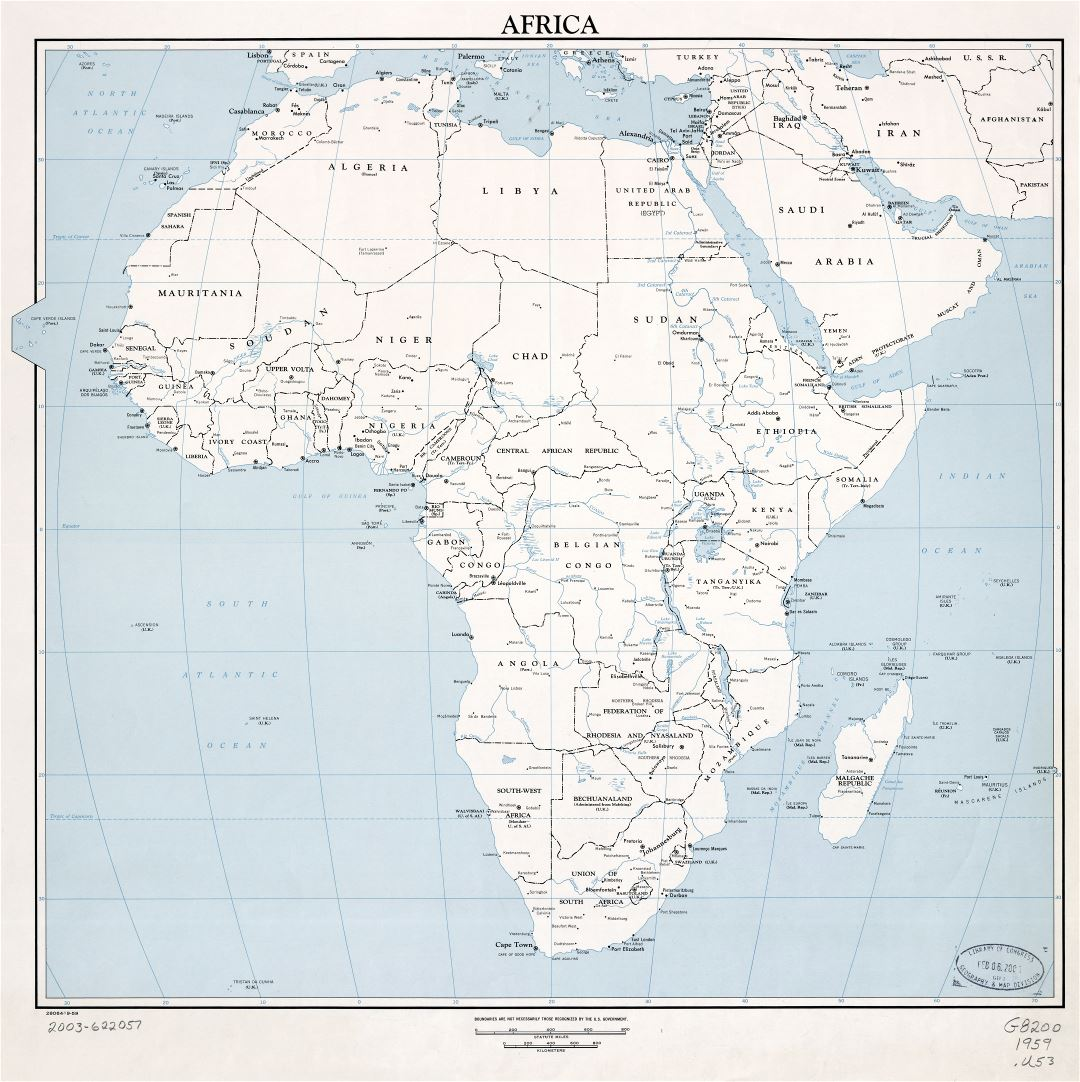 Large scale detailed political map of Africa with marks of capitals, major cities and names of countries - 1959