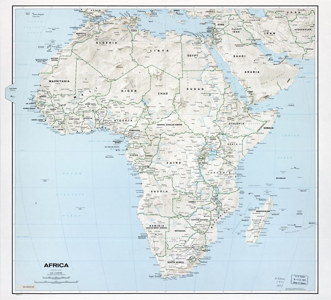 Large scale detailed political map of Africa with relief, marks of capitals, large cities and names of countries - 1977