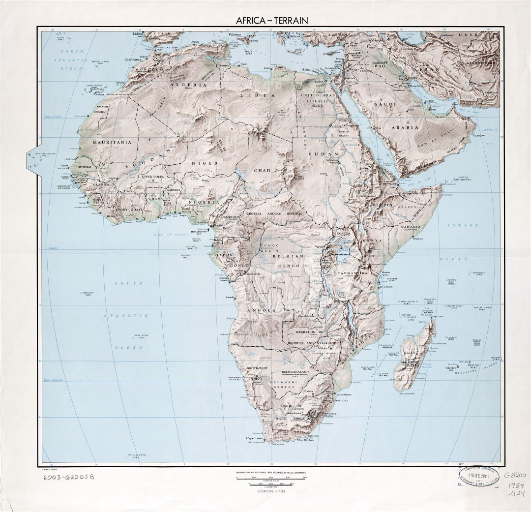 Large scale detailed political map of Africa with relief, marks of capitals, major cities and names of countries - 1959