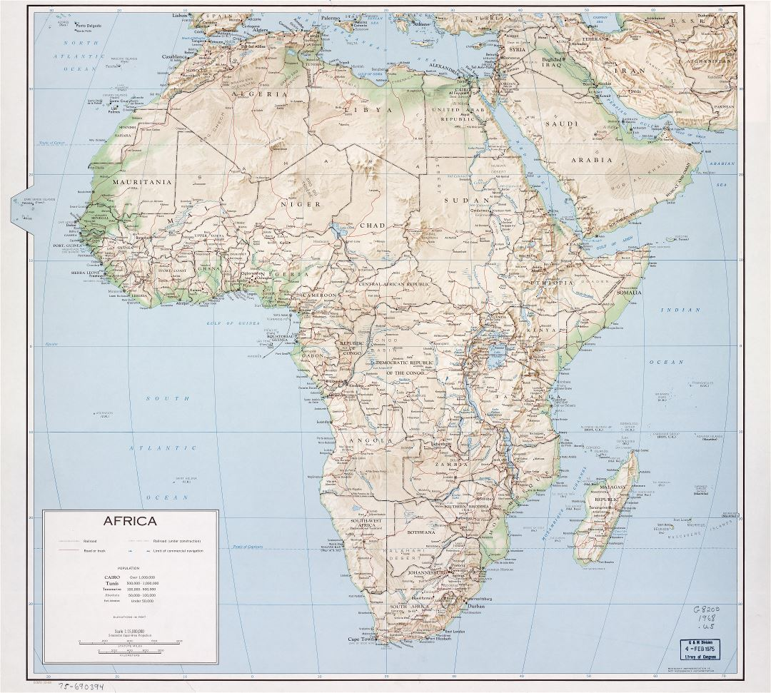 Large scale detailed political map of Africa with relief, marks of ...