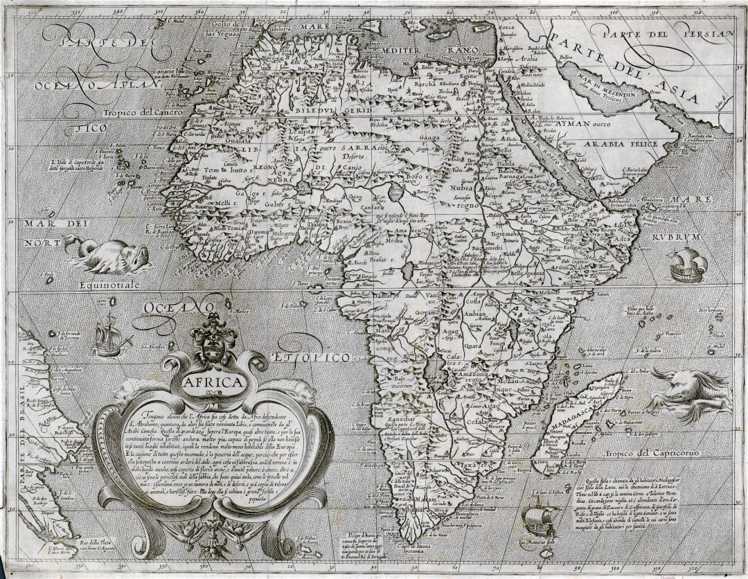 Large scale old map of Africa - 16xx