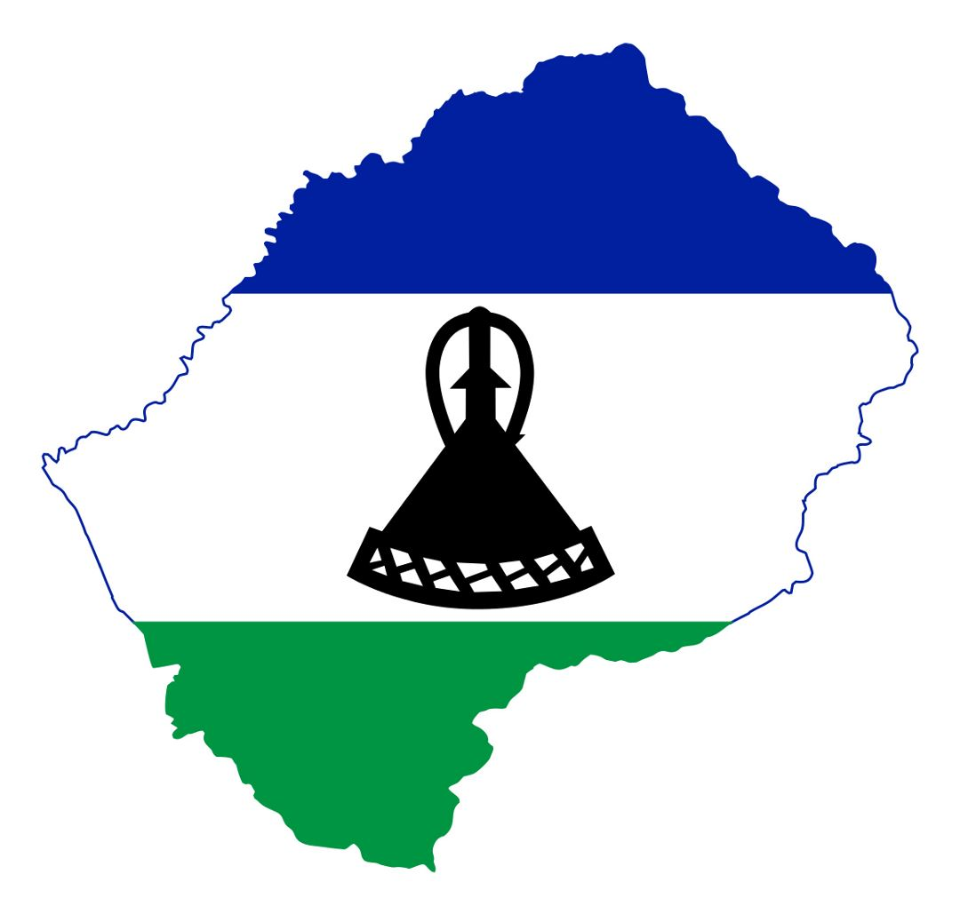 Detailed flag map of Lesotho