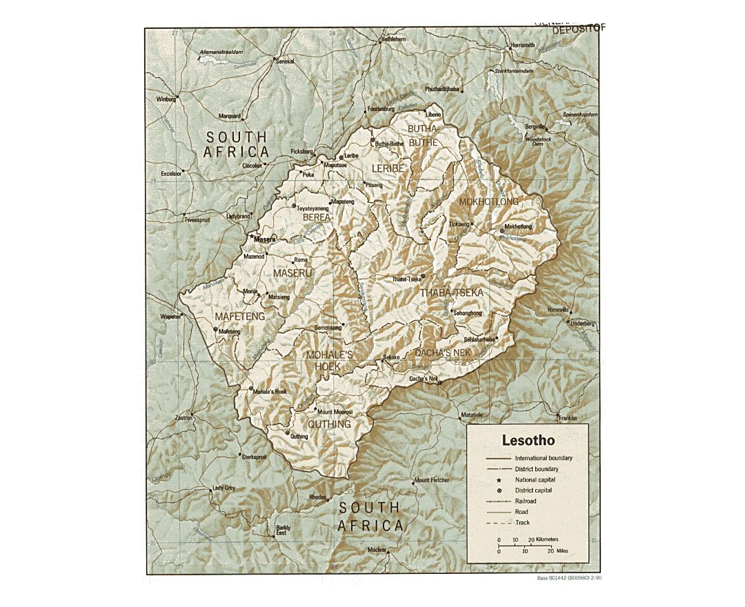 Maps of Lesotho Detailed map of Lesotho in English Tourist map