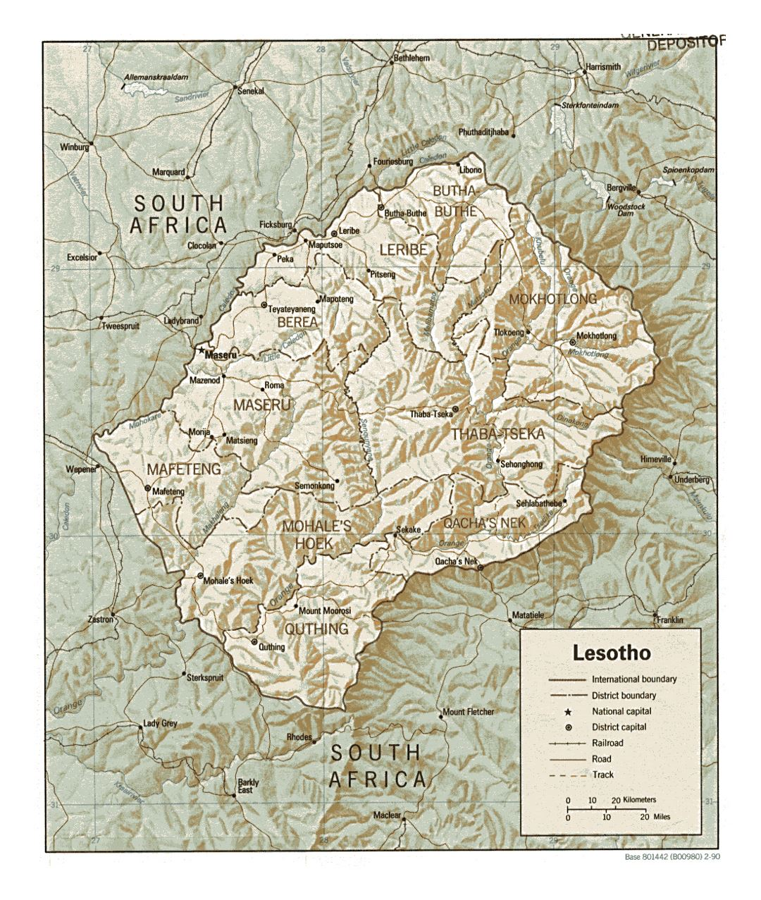Detailed political and administrative map of Lesotho with relief, roads, railroads and major cities - 1990