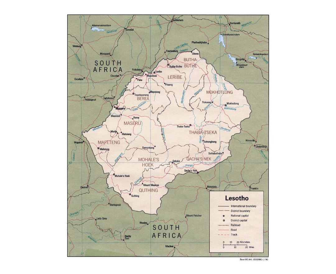 Detailed political and administrative map of Lesotho with roads, railroads and major cities - 1990