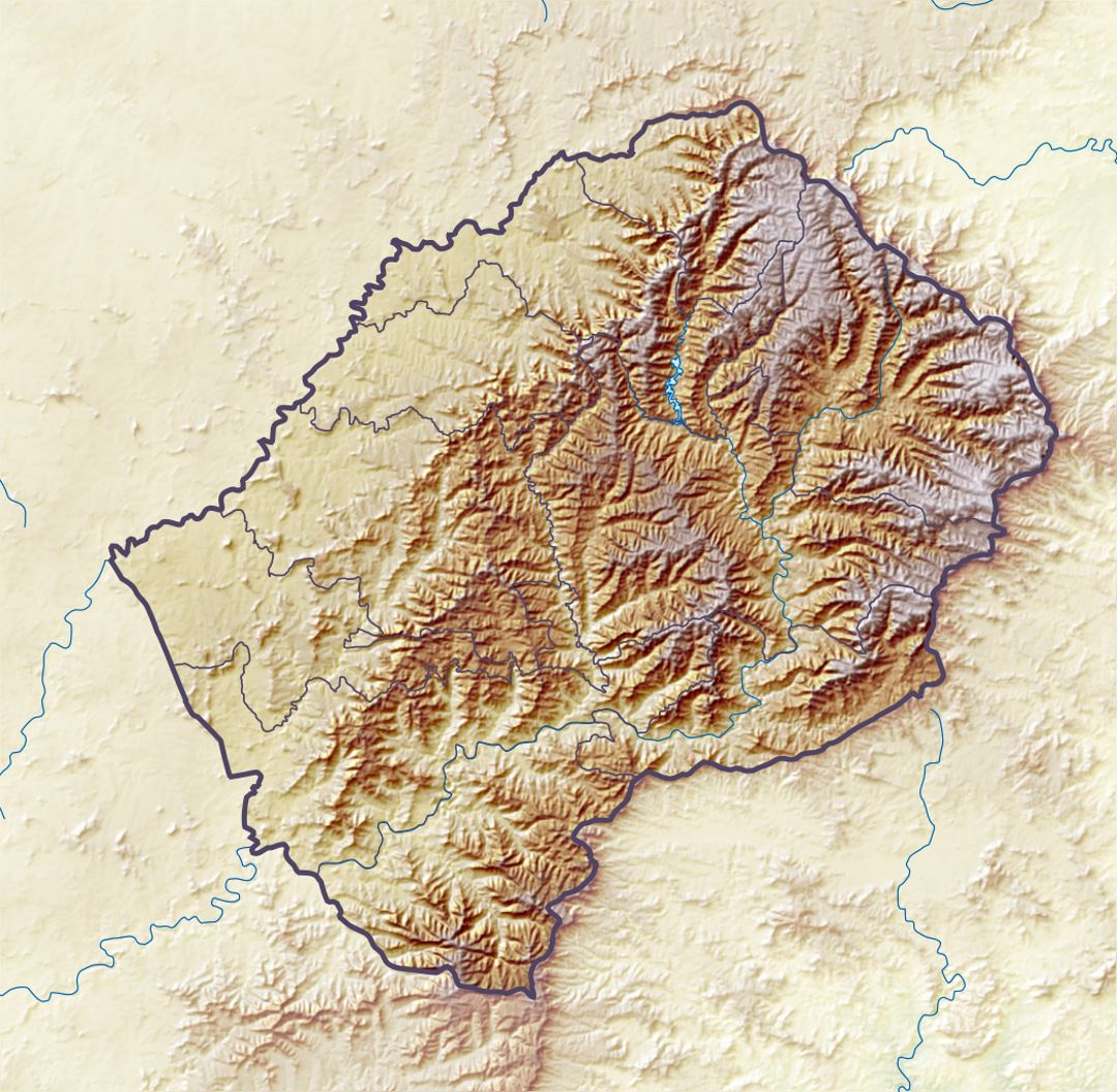 Detailed relief map of Lesotho