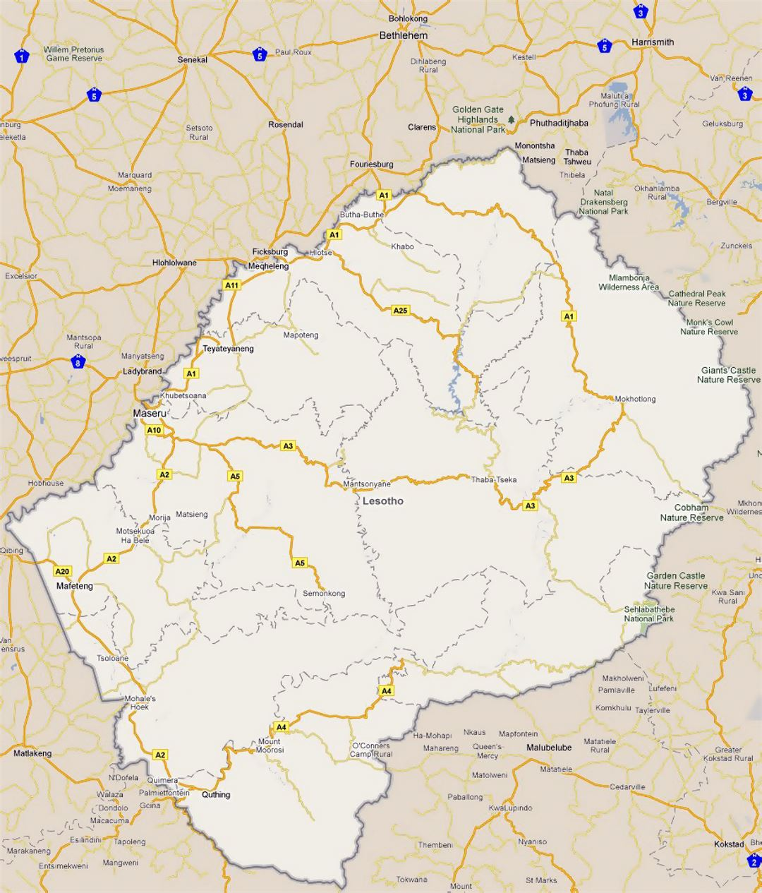 Detailed road map of Lesotho with cities