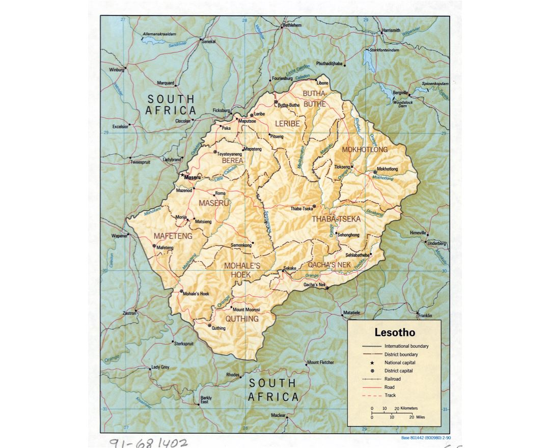 Maps Of Lesotho Detailed Map Of Lesotho In English Tourist Map - Lesotho maps with countries