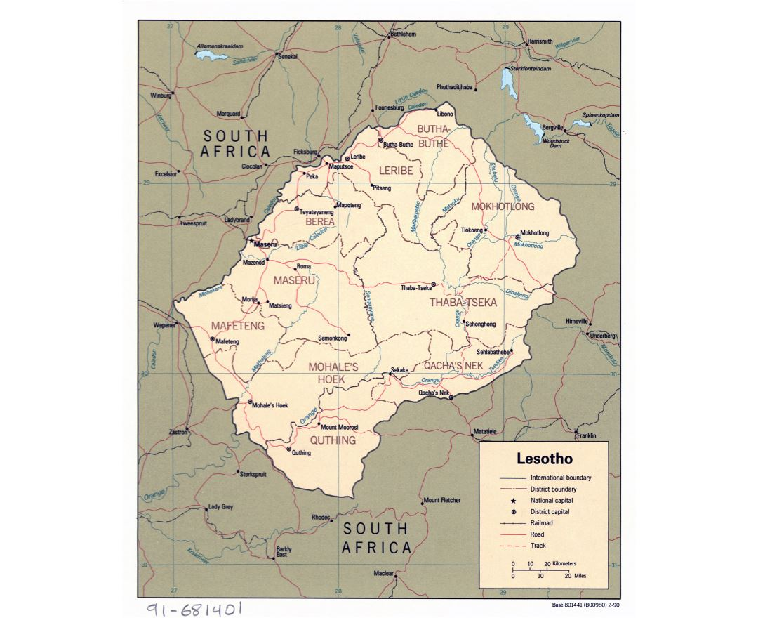 Large detailed political and administrative map of Lesotho with roads, railroads and major cities - 1990