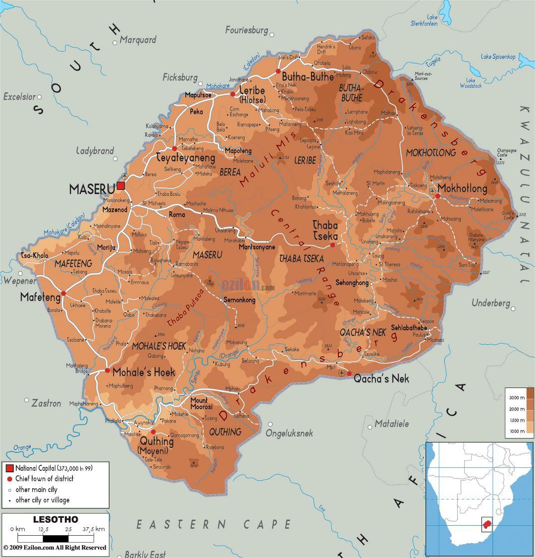 Large physical map of Lesotho with roads, cities and airports