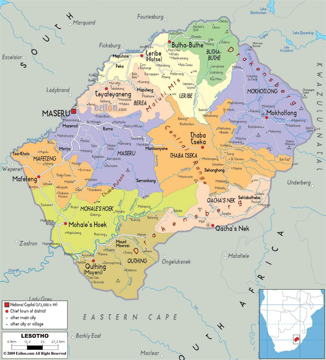 Large political and administrative map of Lesotho with roads, cities and airports