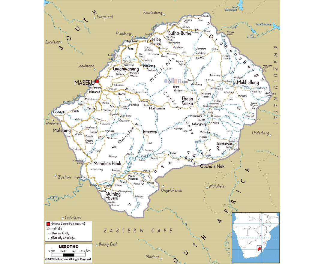Large road map of Lesotho with cities and airports