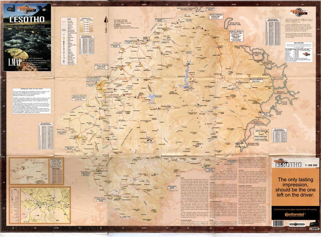 Large scale detailed info map of Lesotho