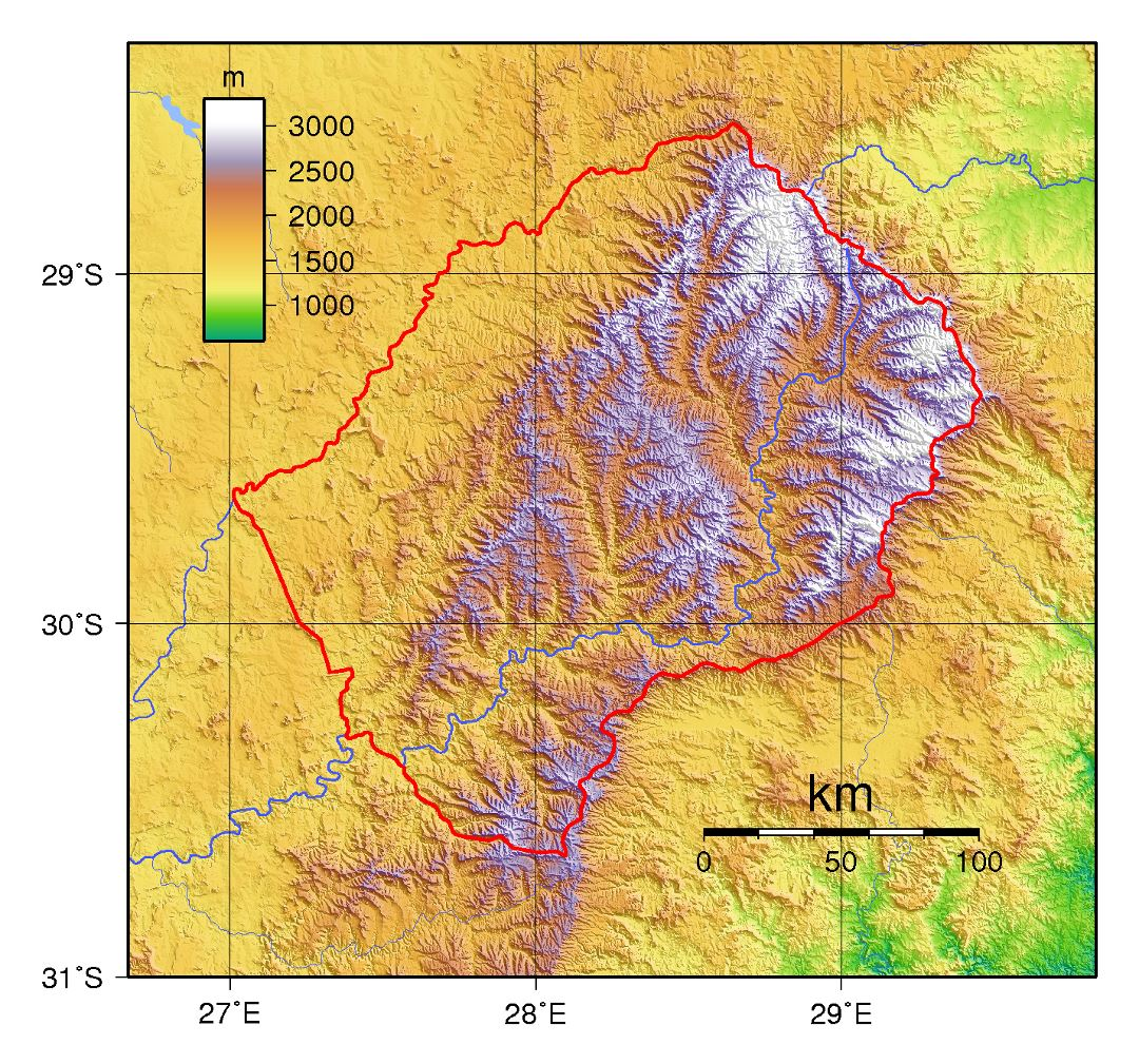 Large topographical map of Lesotho