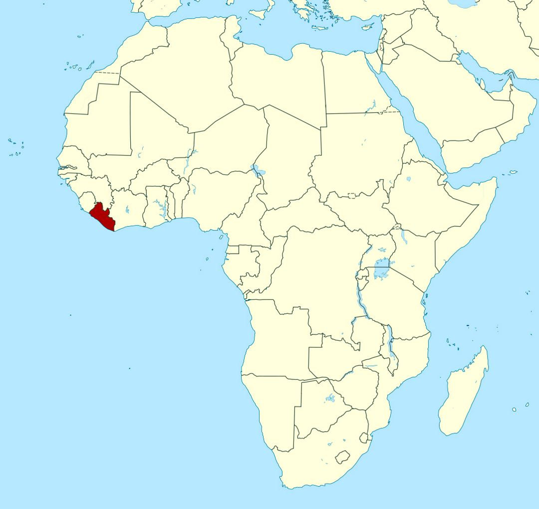 Detailed location map of Liberia in Africa