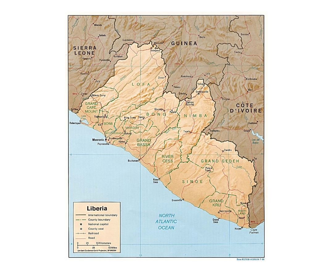 Detailed political and administrative map of Liberia with relief, roads, railroads and major cities - 1996