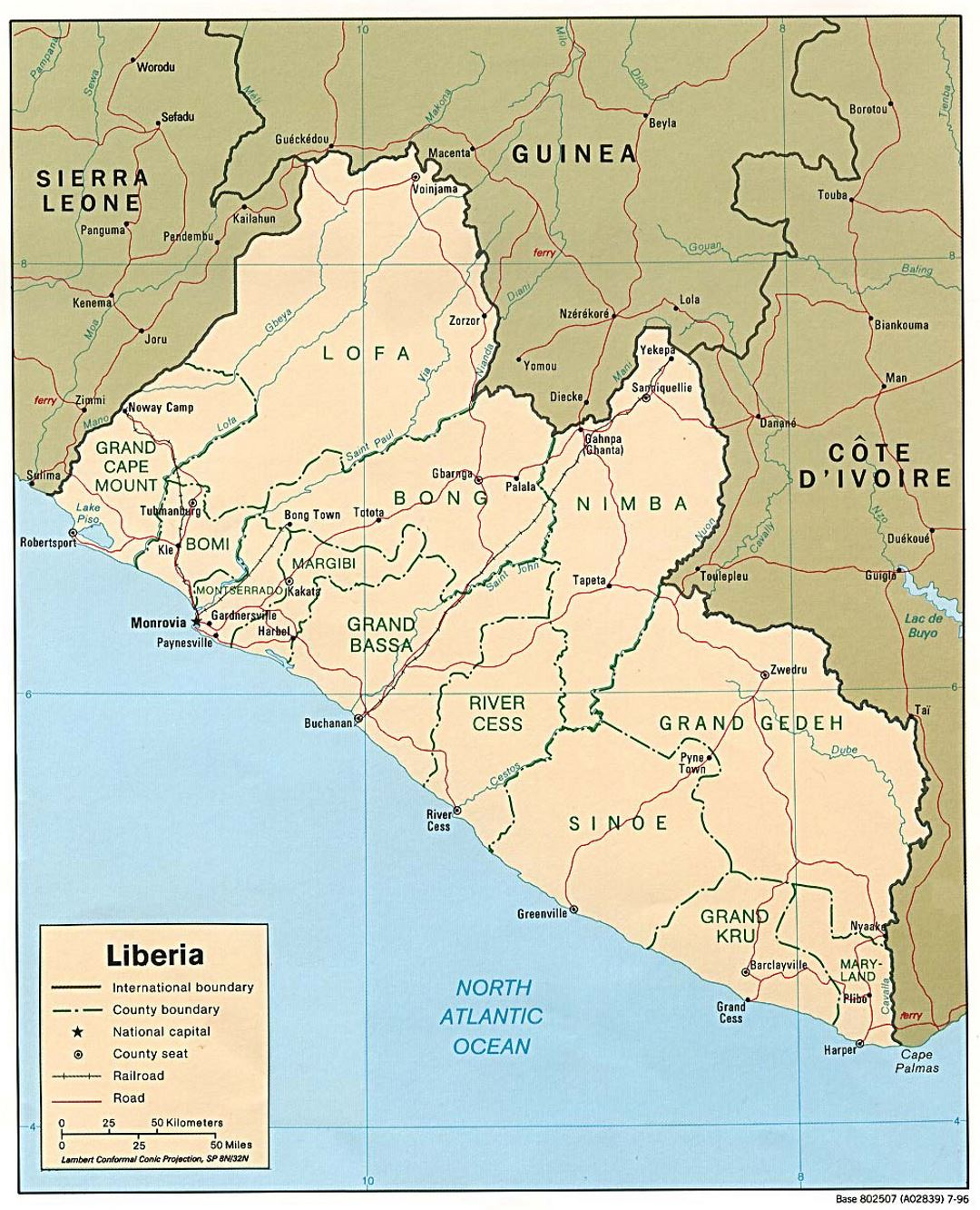 Detailed political and administrative map of Liberia with roads, railroads and major cities - 1996