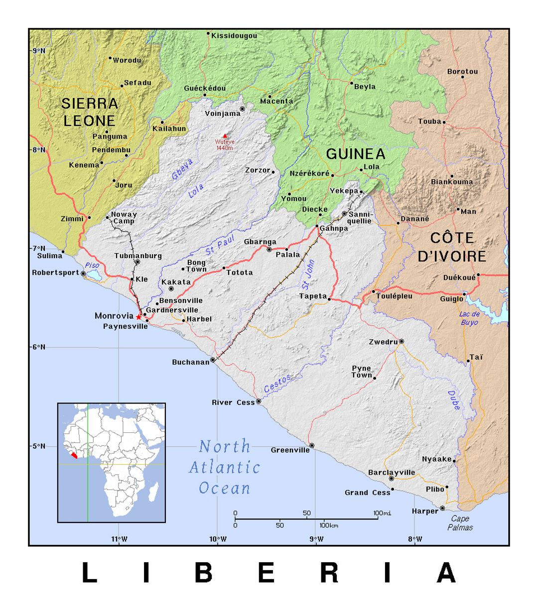Detailed political map of Liberia with relief