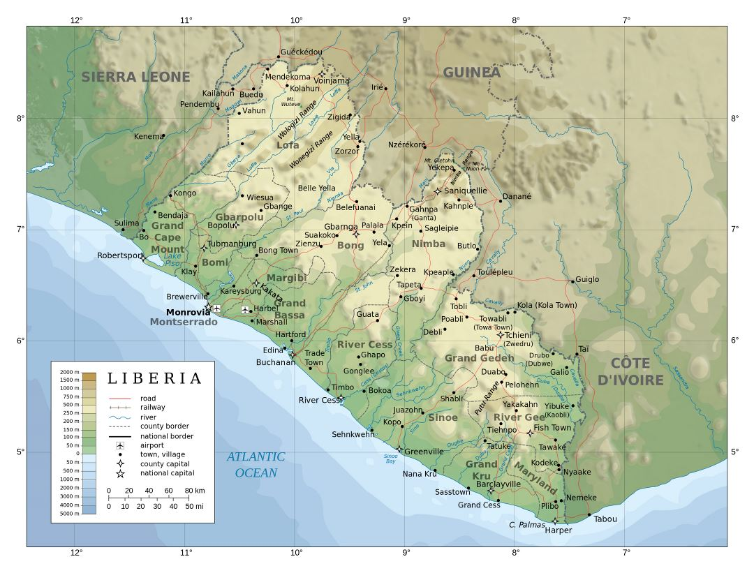 Large detailed physical map of Liberia with administrative divisions, roads, railroads, cities and airports