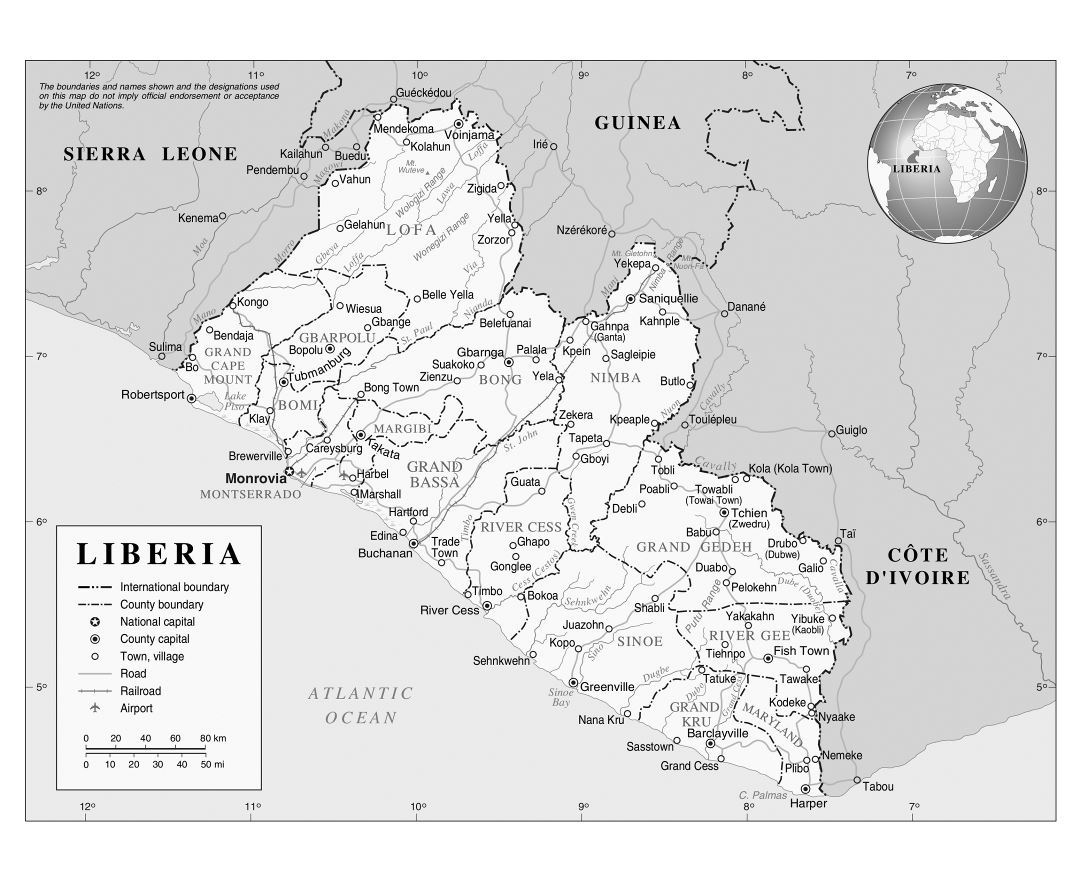 Large detailed political and administrative map of Liberia