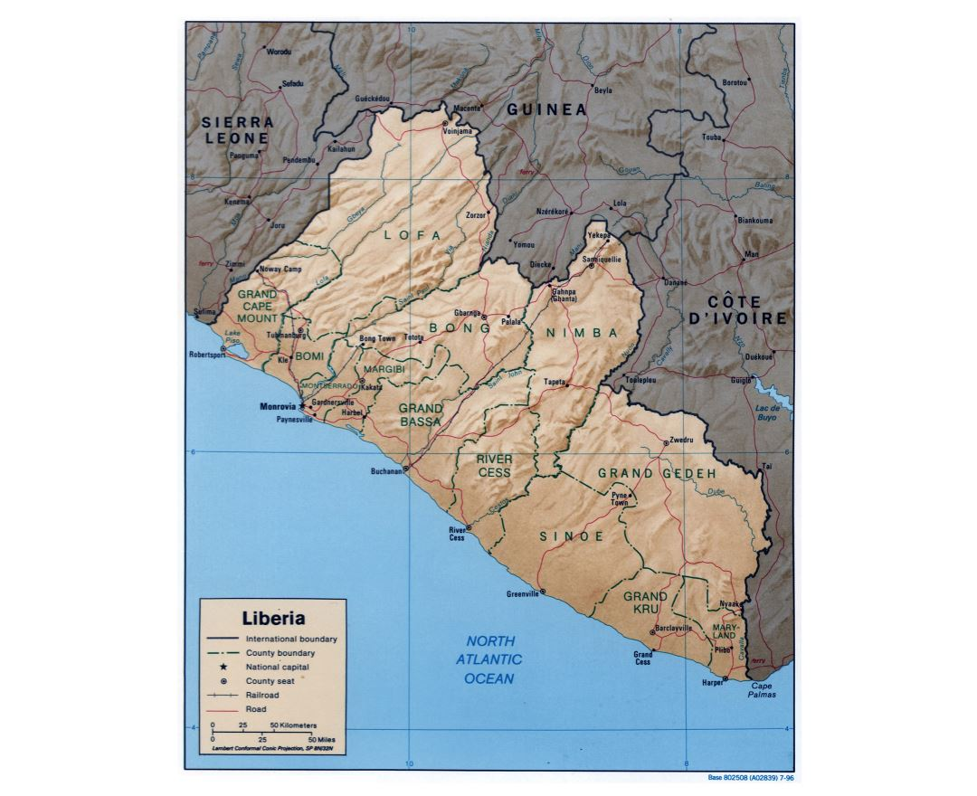 Large detailed political and administrative map of Liberia with relief, roads, railroads and major cities - 1996