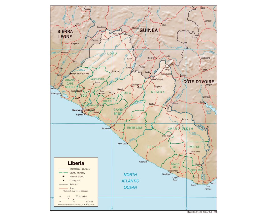 Maps of liberia detailed map of liberia in english tourist map large detailed political and administrative map of liberia with relief roads railroads and major cities 2004 gumiabroncs Choice Image