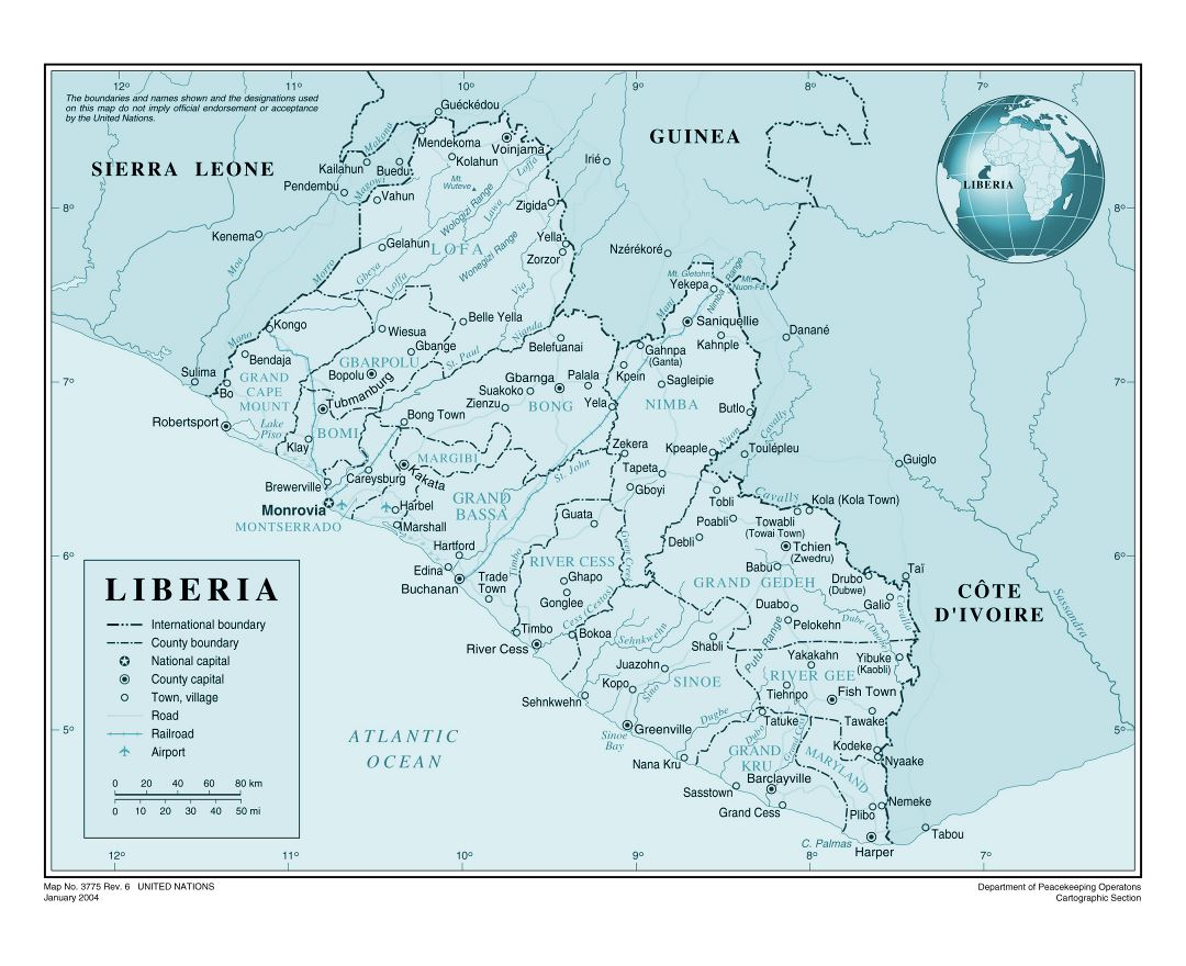 Large detailed political and administrative map of Liberia with roads, railroads, all cities and airports