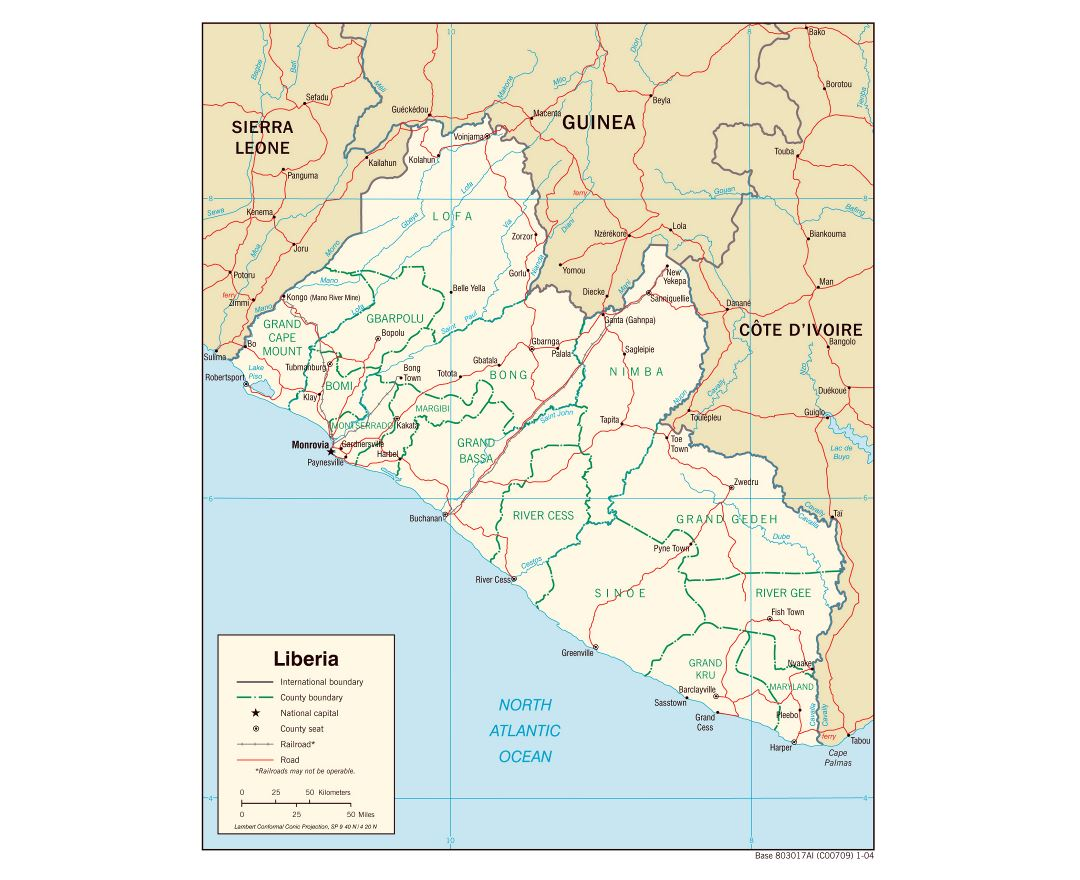 Large detailed political and administrative map of Liberia with roads, railroads and major cities - 2004