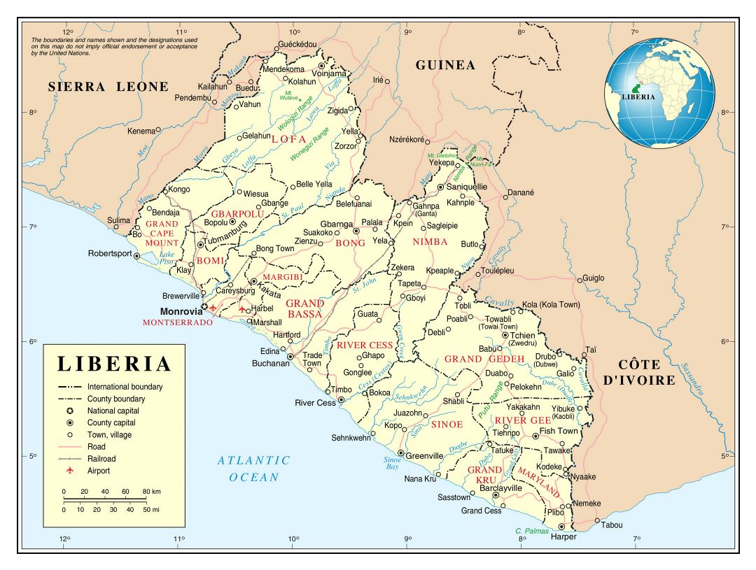 Large detailed political and administrative map of Liberia with roads, railroads, cities and airports