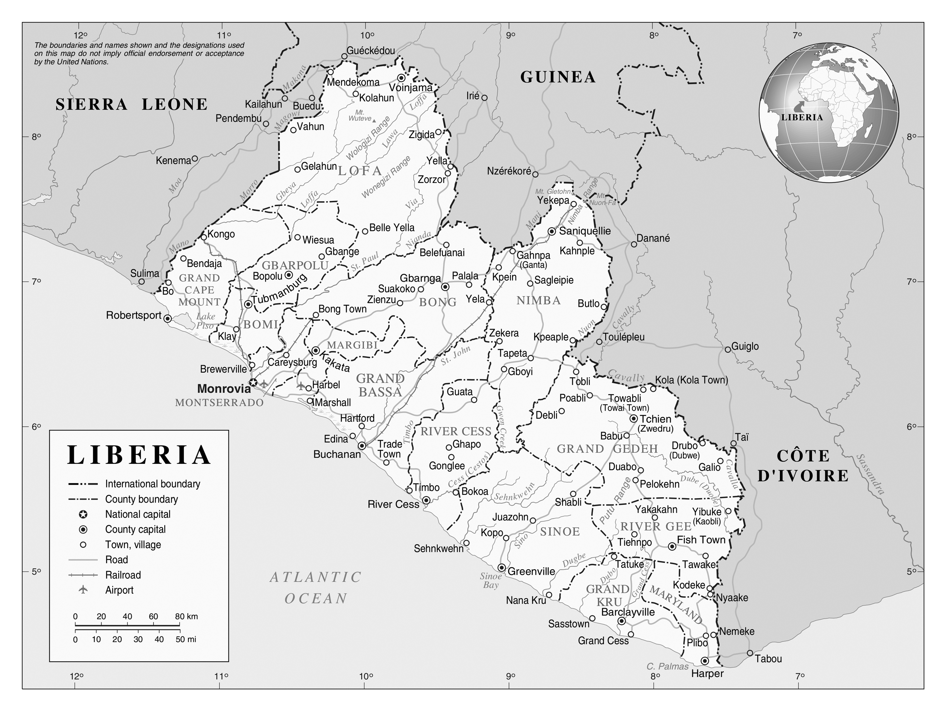 Large detailed political and administrative map of Liberia Liberia