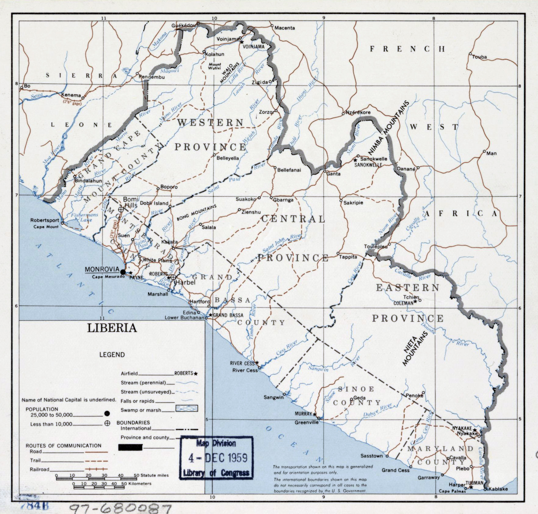Large detailed political map of Liberia 1959 Liberia Africa