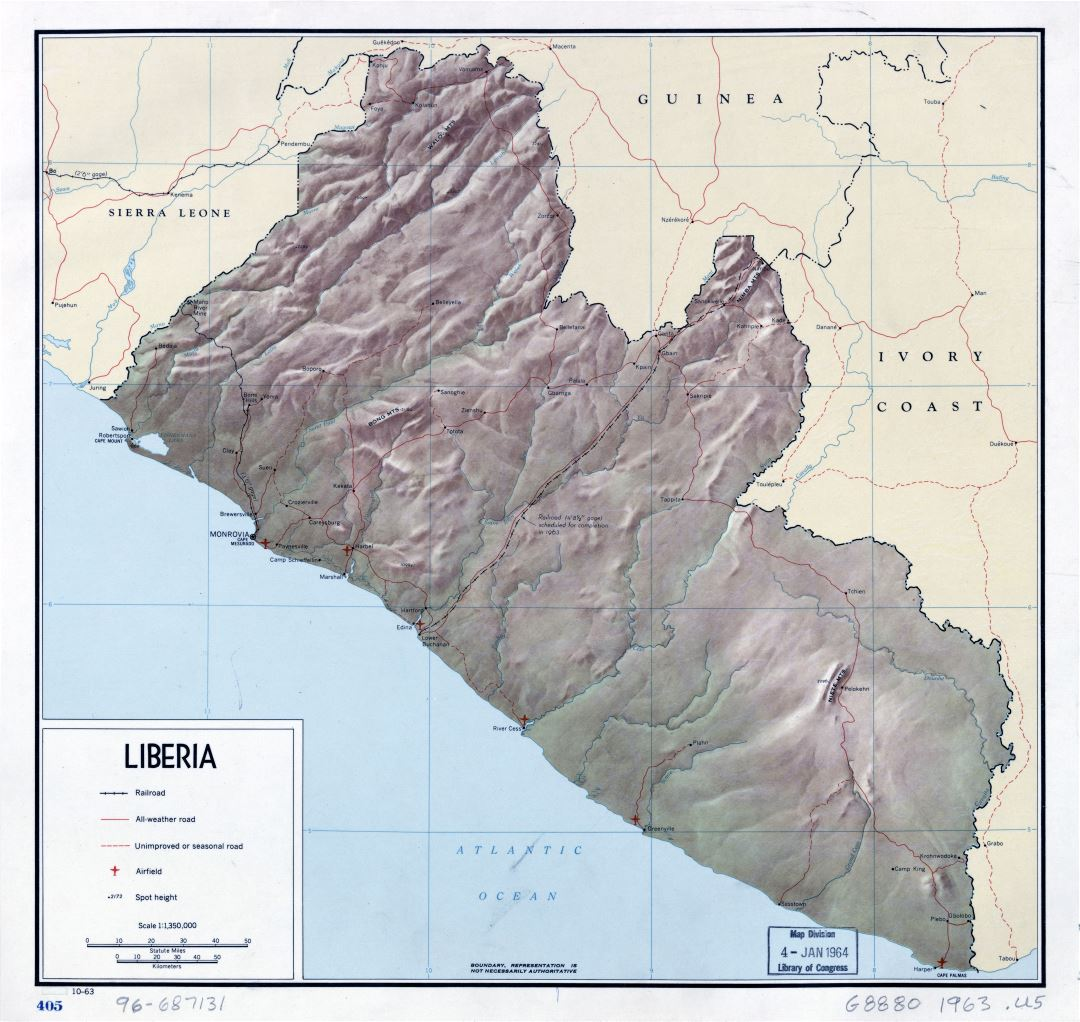 Large detailed political map of Liberia with relief, roads, major cities and airports - 1963