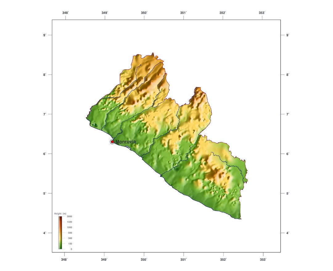 Large elevation map of Liberia