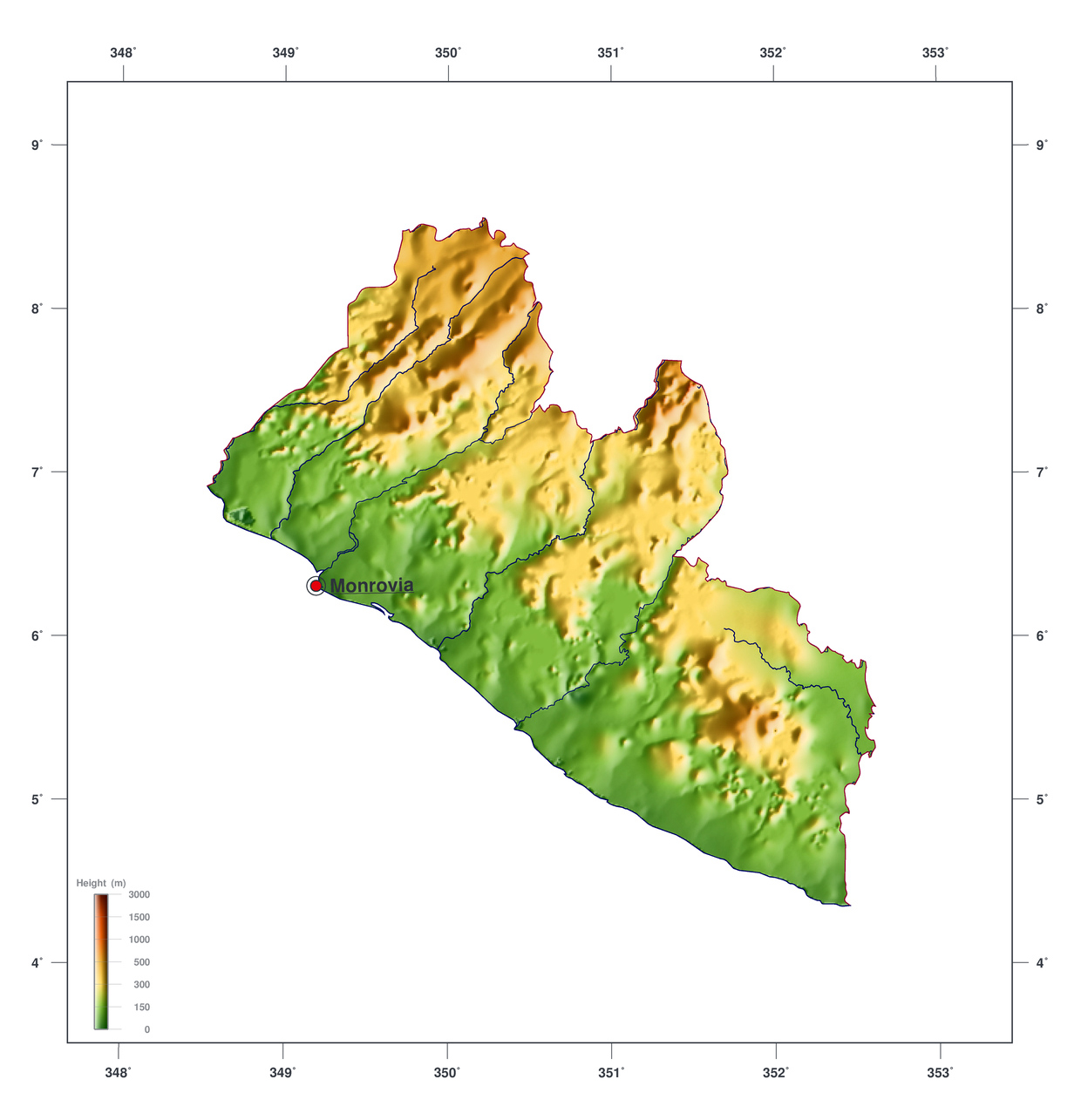 Large elevation map of liberia liberia africa mapsland maps large elevation map of liberia gumiabroncs Images