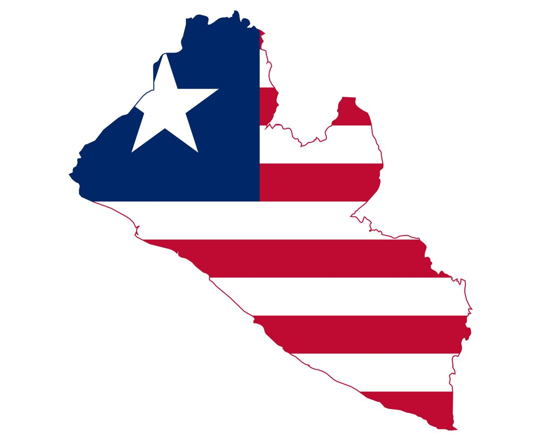 Large flag map of Liberia